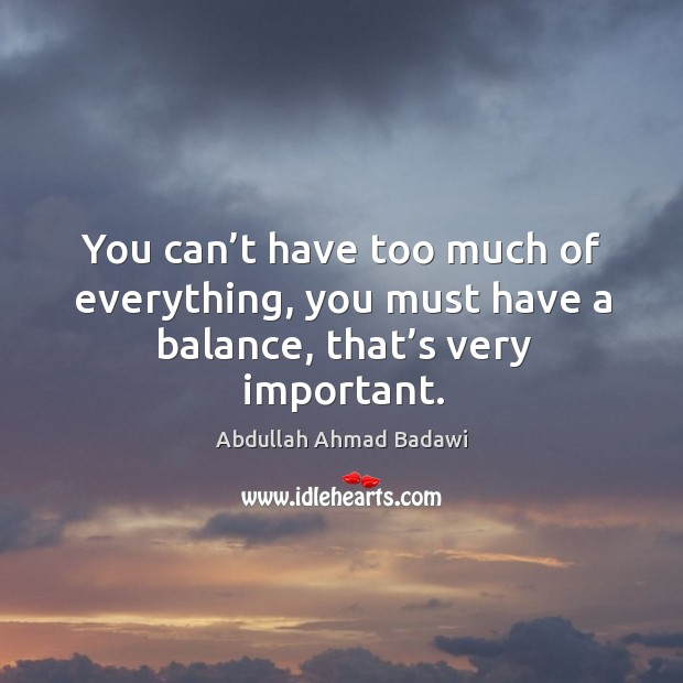 Image, You can't have too much of everything, you must have a balance, that's very important.