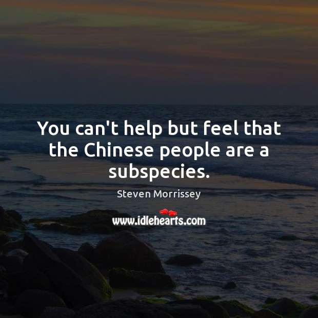 You can't help but feel that the Chinese people are a subspecies. Steven Morrissey Picture Quote