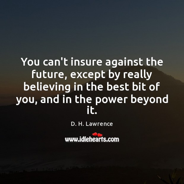You can't insure against the future, except by really believing in the Image