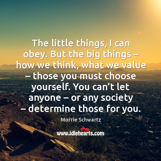 You can't let anyone – or any society – determine those for you. Morrie Schwartz Picture Quote