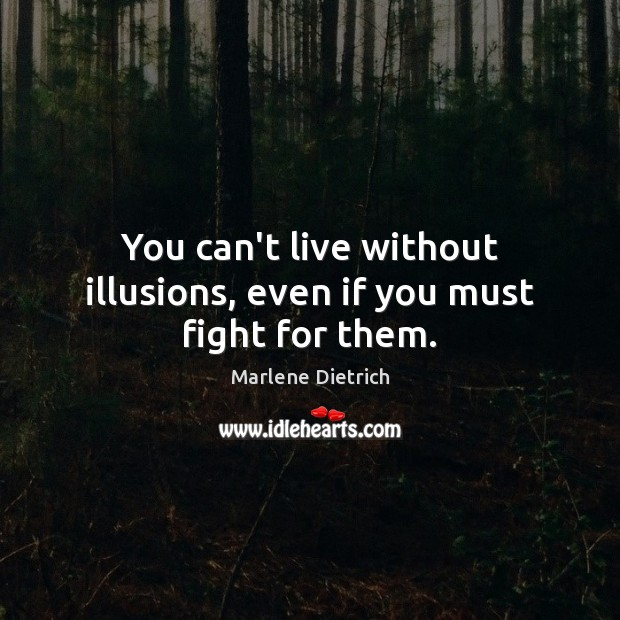 Image, You can't live without illusions, even if you must fight for them.