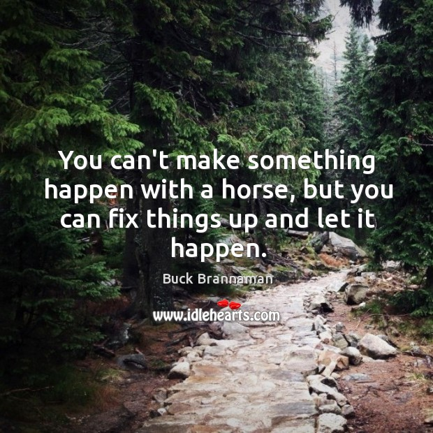 You can't make something happen with a horse, but you can fix things up and let it happen. Image