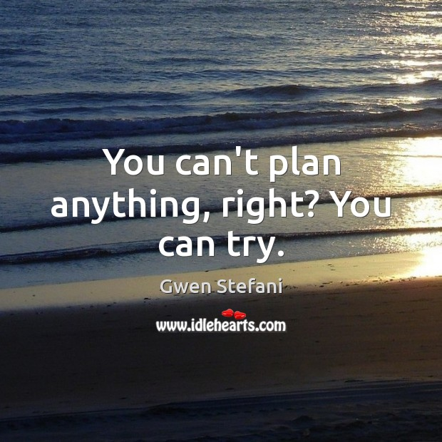 You can't plan anything, right? You can try. Gwen Stefani Picture Quote