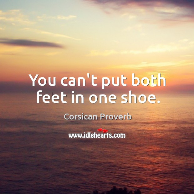 Image, You can't put both feet in one shoe.