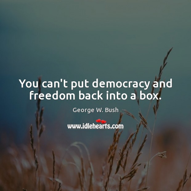 Image, You can't put democracy and freedom back into a box.