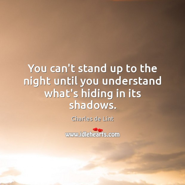 You can't stand up to the night until you understand what's hiding in its shadows. Charles de Lint Picture Quote