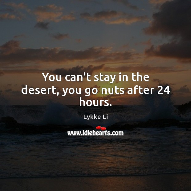 You can't stay in the desert, you go nuts after 24 hours. Lykke Li Picture Quote