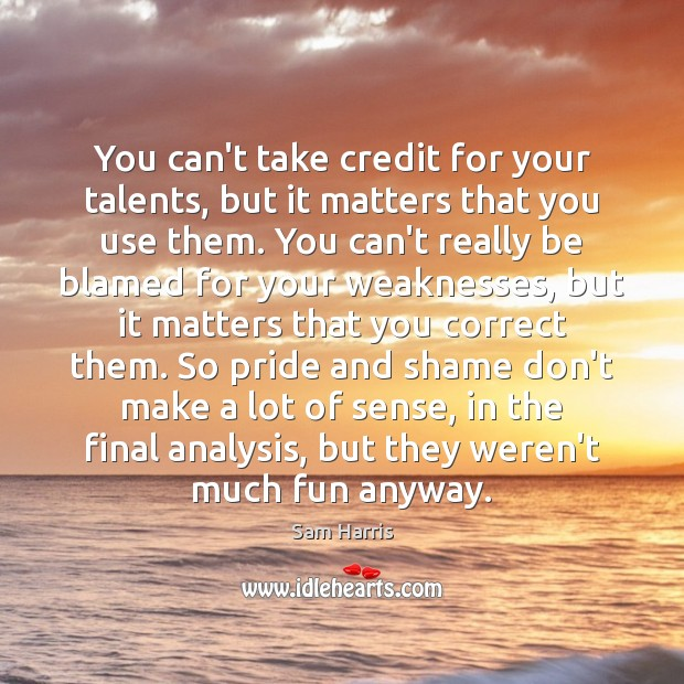 You can't take credit for your talents, but it matters that you Sam Harris Picture Quote