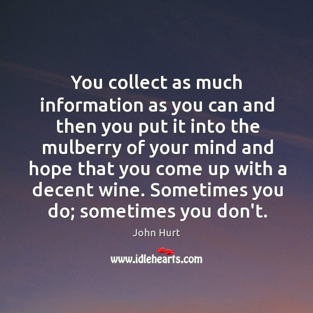 Image, You collect as much information as you can and then you put