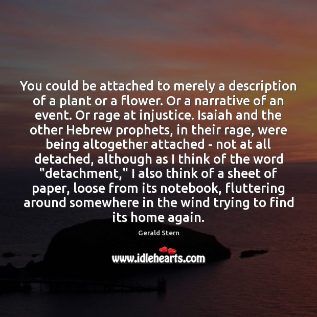 You could be attached to merely a description of a plant or Gerald Stern Picture Quote