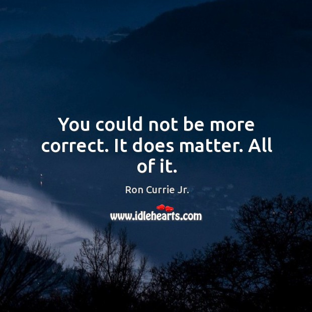 You could not be more correct. It does matter. All of it. Ron Currie Jr. Picture Quote