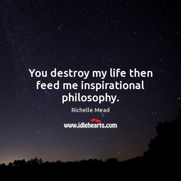 You destroy my life then feed me inspirational philosophy. Image