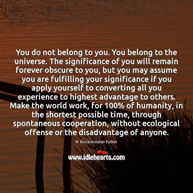 You do not belong to you. You belong to the universe. The Image