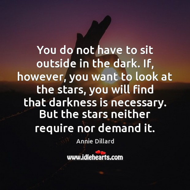 You do not have to sit outside in the dark. If, however, Image