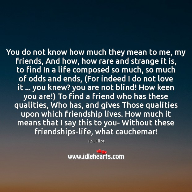 You do not know how much they mean to me, my friends, T.S. Eliot Picture Quote