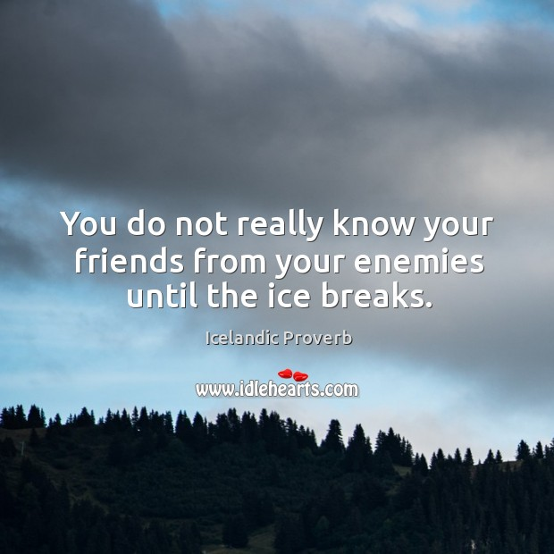 You do not really know your friends from your enemies until the ice breaks. Icelandic Proverbs Image