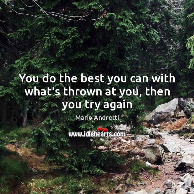 You do the best you can with what's thrown at you, then you try again Mario Andretti Picture Quote