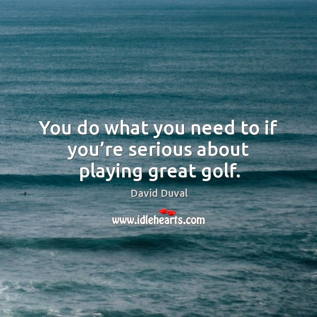 You do what you need to if you're serious about playing great golf. David Duval Picture Quote