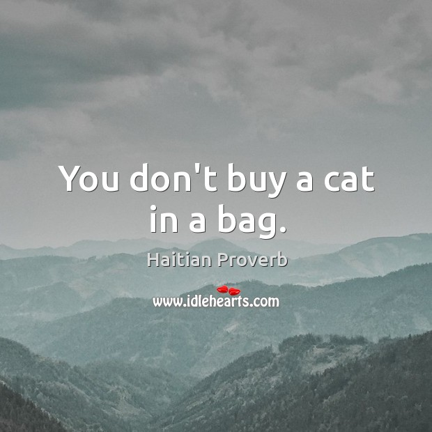 You don't buy a cat in a bag. Haitian Proverbs Image