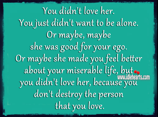 You Don't Destroy The Person That You Love.