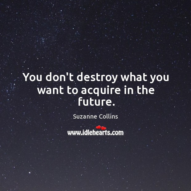 Image, You don't destroy what you want to acquire in the future.