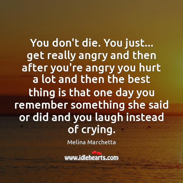 You don't die. You just… get really angry and then after you're Melina Marchetta Picture Quote