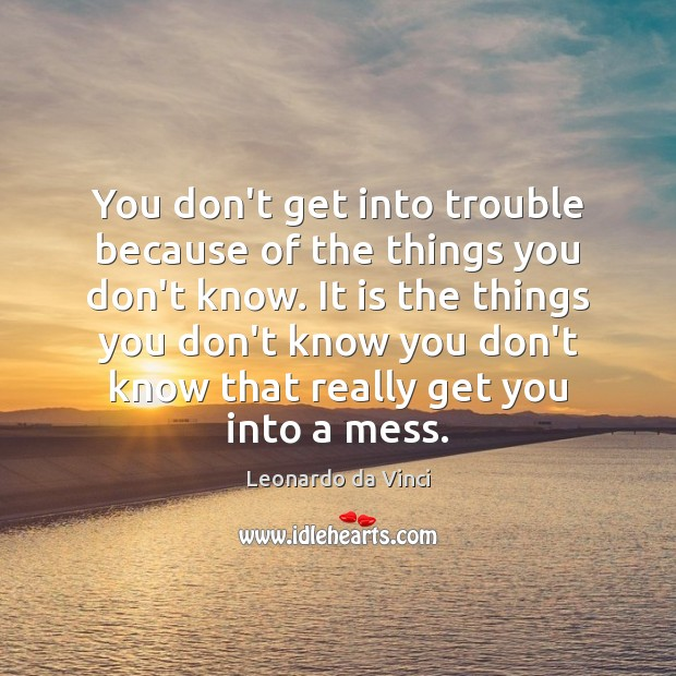 You don't get into trouble because of the things you don't know. Image
