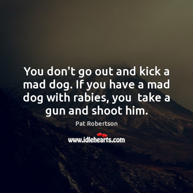 You don't go out and kick a mad dog. If you have Pat Robertson Picture Quote