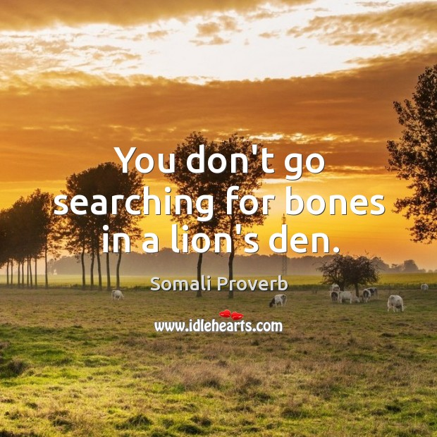 You don't go searching for bones in a lion's den. Somali Proverbs Image