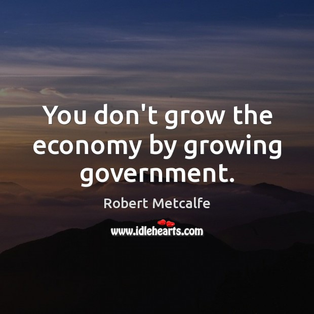 You don't grow the economy by growing government. Image