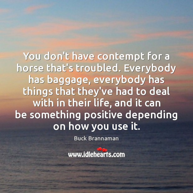 Image, You don't have contempt for a horse that's troubled. Everybody has baggage,