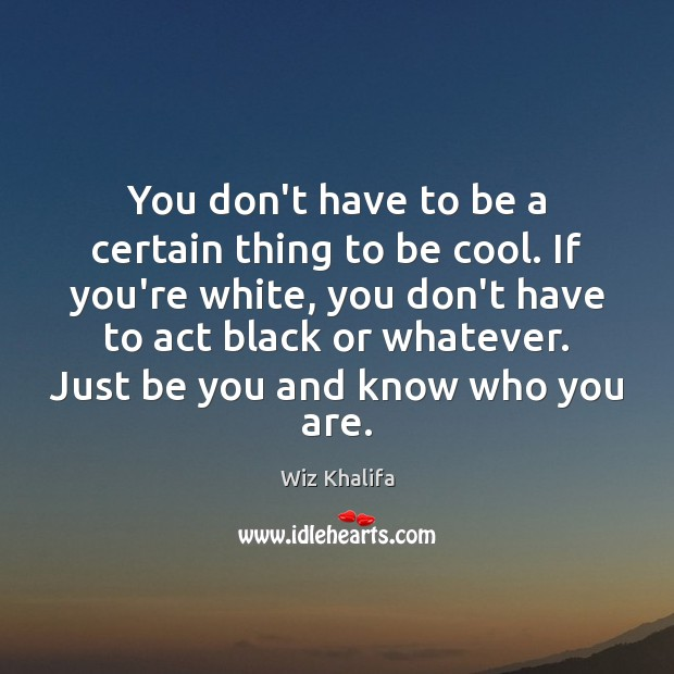 You don't have to be a certain thing to be cool. If Wiz Khalifa Picture Quote