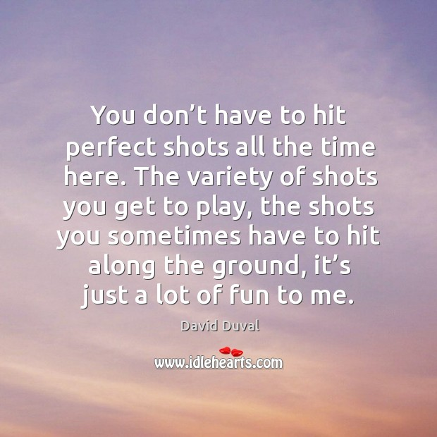 You don't have to hit perfect shots all the time here. David Duval Picture Quote