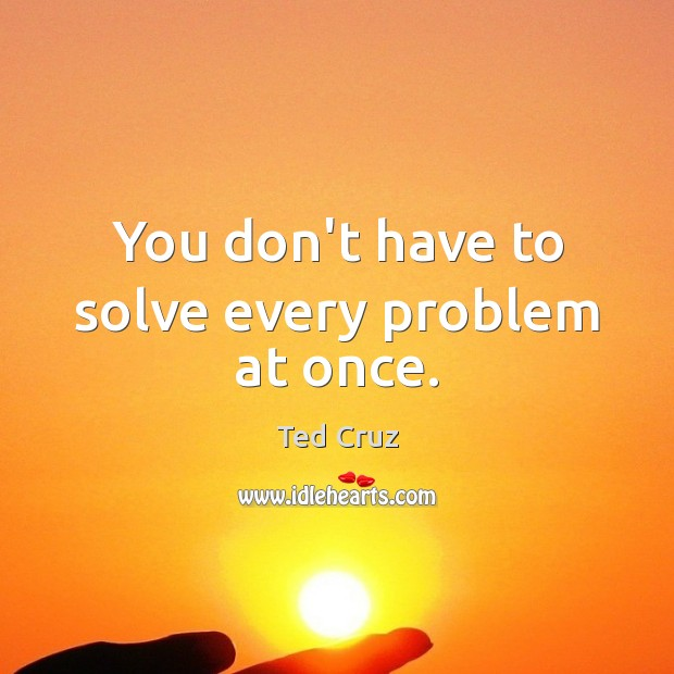 You don't have to solve every problem at once. Ted Cruz Picture Quote