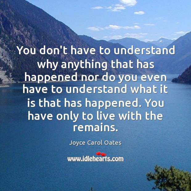 You don't have to understand why anything that has happened nor do Image