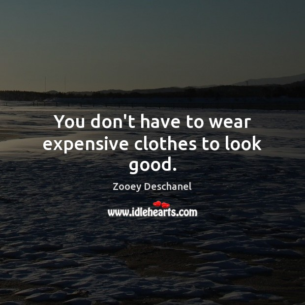 You don't have to wear expensive clothes to look good. Zooey Deschanel Picture Quote