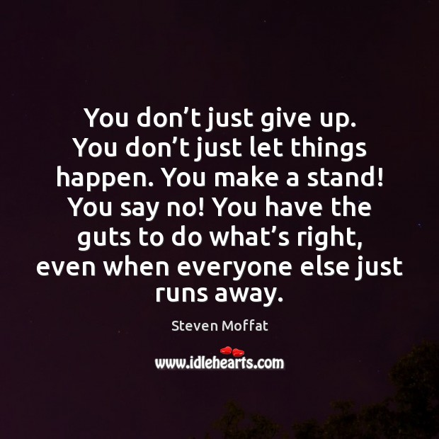 You don't just give up. You don't just let things Steven Moffat Picture Quote