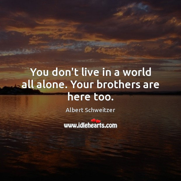 Image, You don't live in a world all alone. Your brothers are here too.