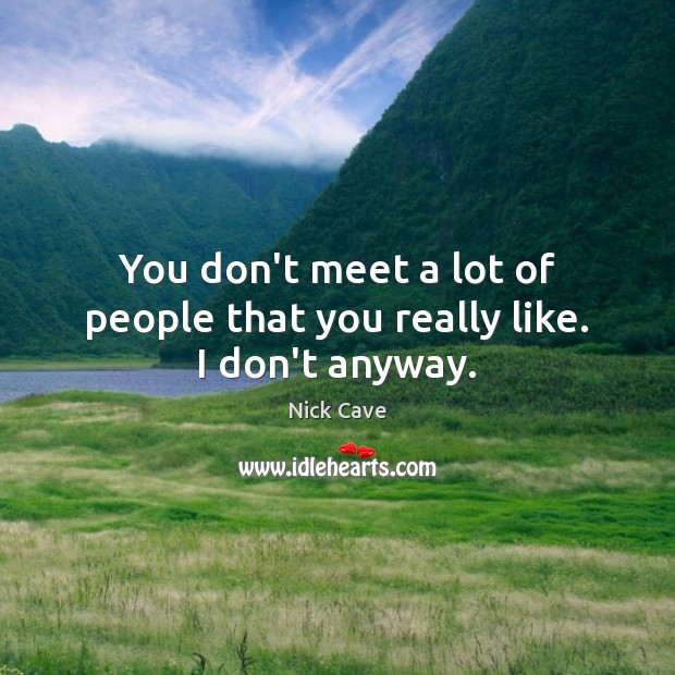 You don't meet a lot of people that you really like. I don't anyway. Nick Cave Picture Quote