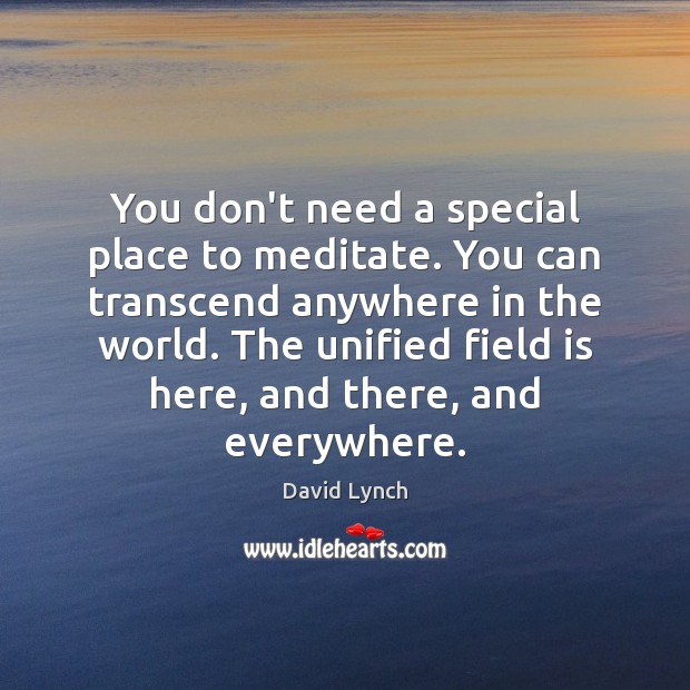 You don't need a special place to meditate. You can transcend anywhere David Lynch Picture Quote