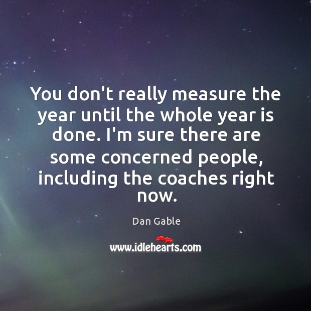 You don't really measure the year until the whole year is done. Dan Gable Picture Quote