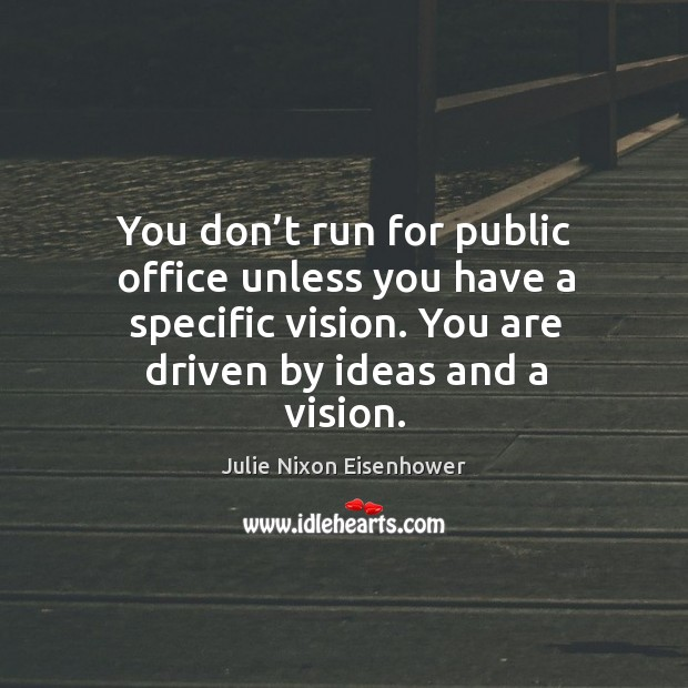 You don't run for public office unless you have a specific vision. You are driven by ideas and a vision. Image