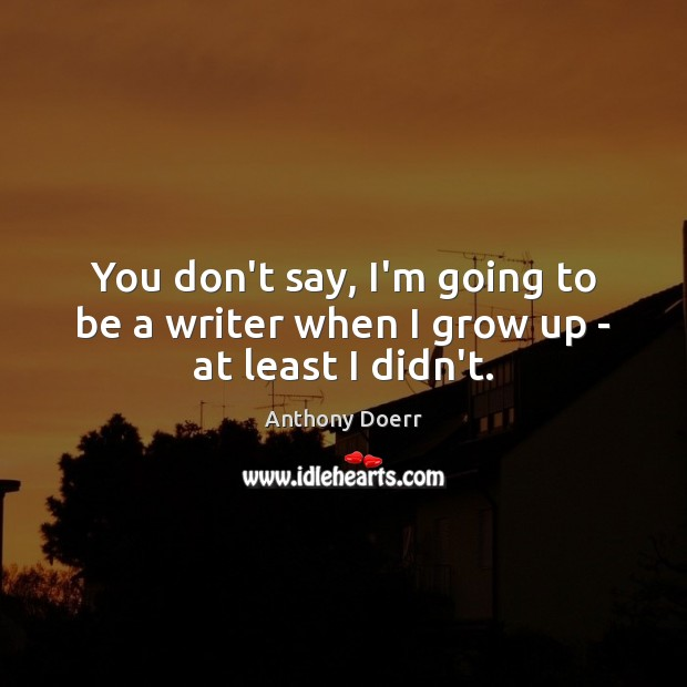 You don't say, I'm going to be a writer when I grow up – at least I didn't. Image