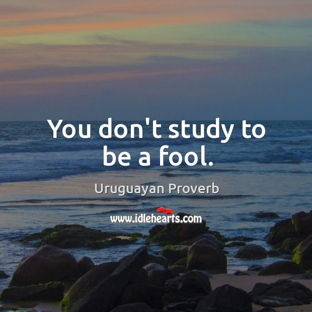 Image, You don't study to be a fool.