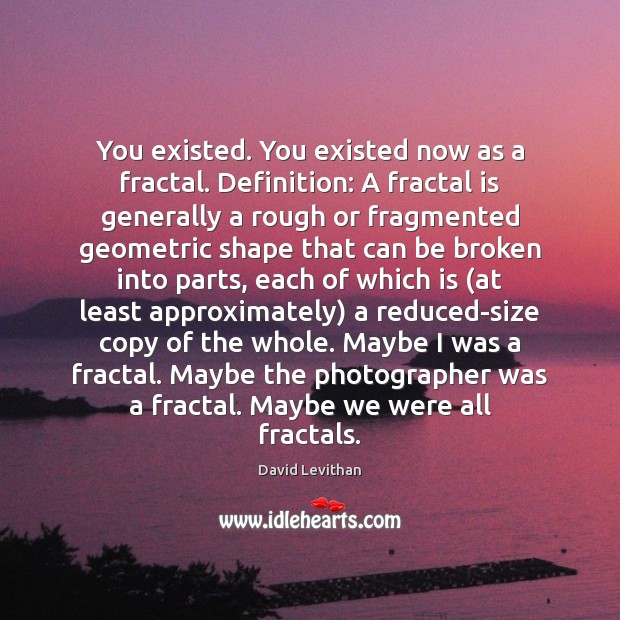 You existed. You existed now as a fractal. Definition: A fractal is Image