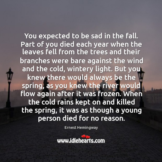 Image, You expected to be sad in the fall. Part of you died