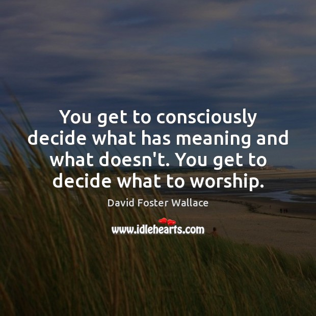 You get to consciously decide what has meaning and what doesn't. You David Foster Wallace Picture Quote