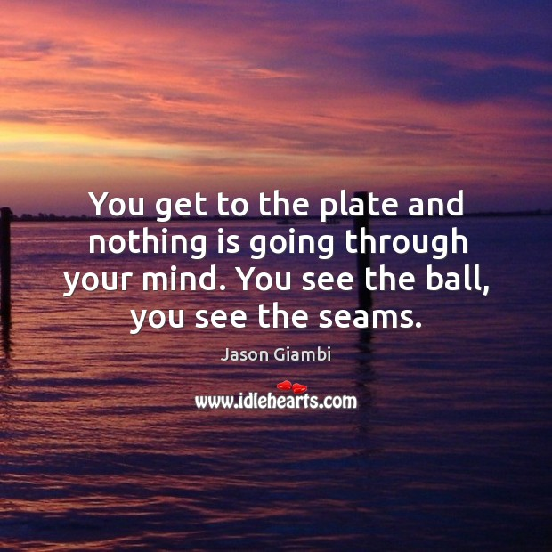 You get to the plate and nothing is going through your mind. You see the ball, you see the seams. Image