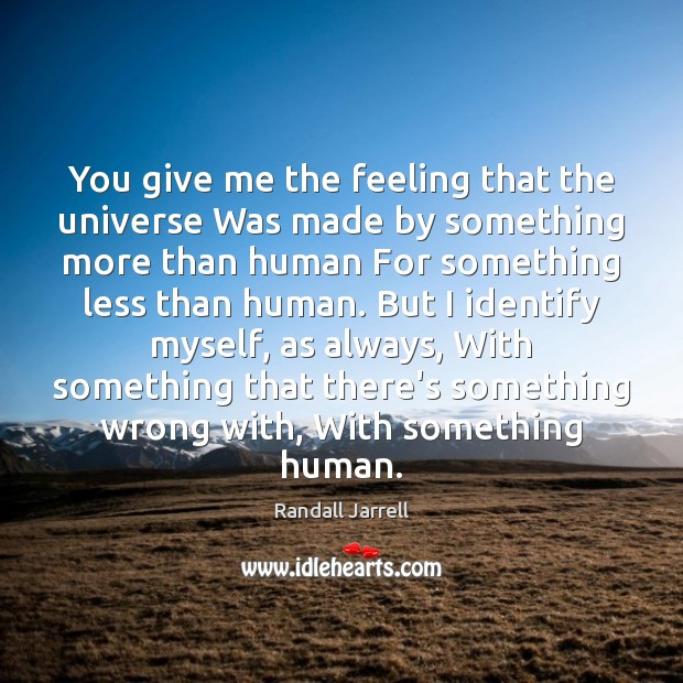 You give me the feeling that the universe Was made by something Randall Jarrell Picture Quote