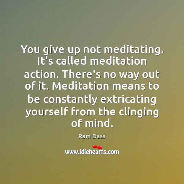 You give up not meditating. It's called meditation action. There's no way Ram Dass Picture Quote